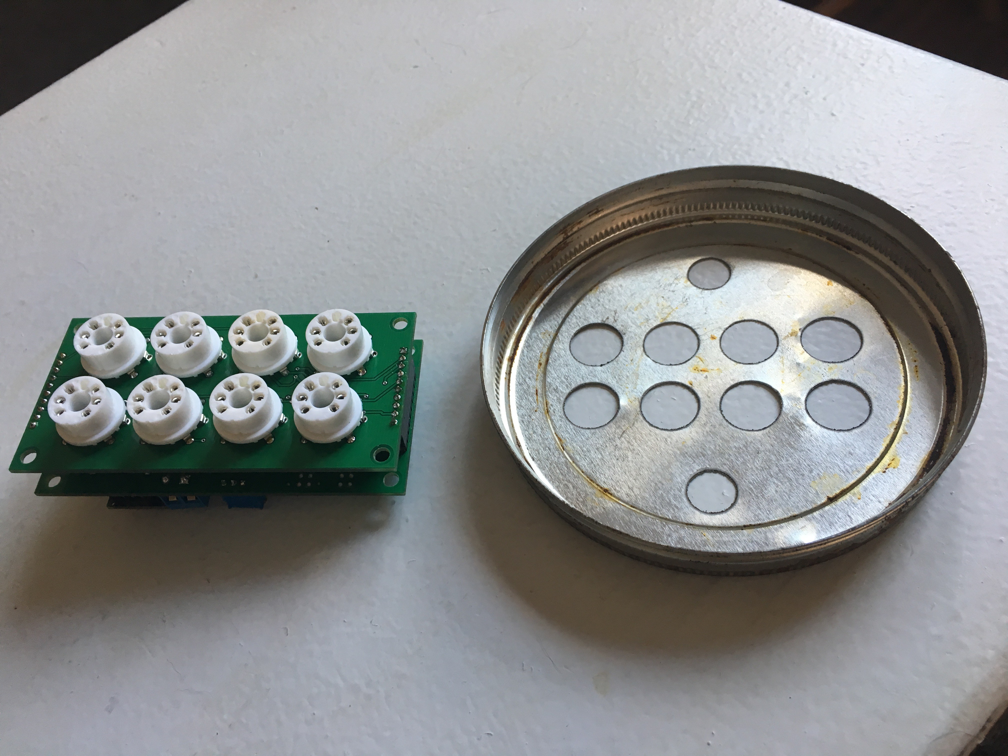 Electronic Nose To Detect Fruit Ripening Circuit Board Under The Waterjet Ready Be Sliced Pieces I Cut Some Holes In Lid Mount Sensor Electronics Outside Of Chamber Also Have An Extra Hole There For Mounting A Temperature