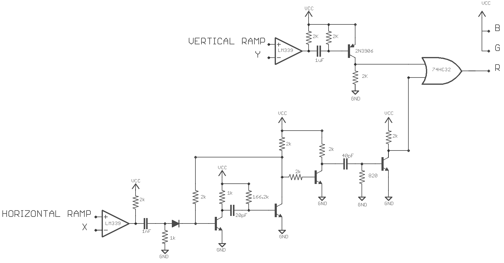 Project Rasterphonic Glove Led Ramping Circuit The Monostable Delay Is Tuned To Equal Time Required Draw A Scanline Minus Sensor Signal This Way An Output Pulse Produced In