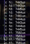 Timing differences when handling different bytes, with a downclocked controller.