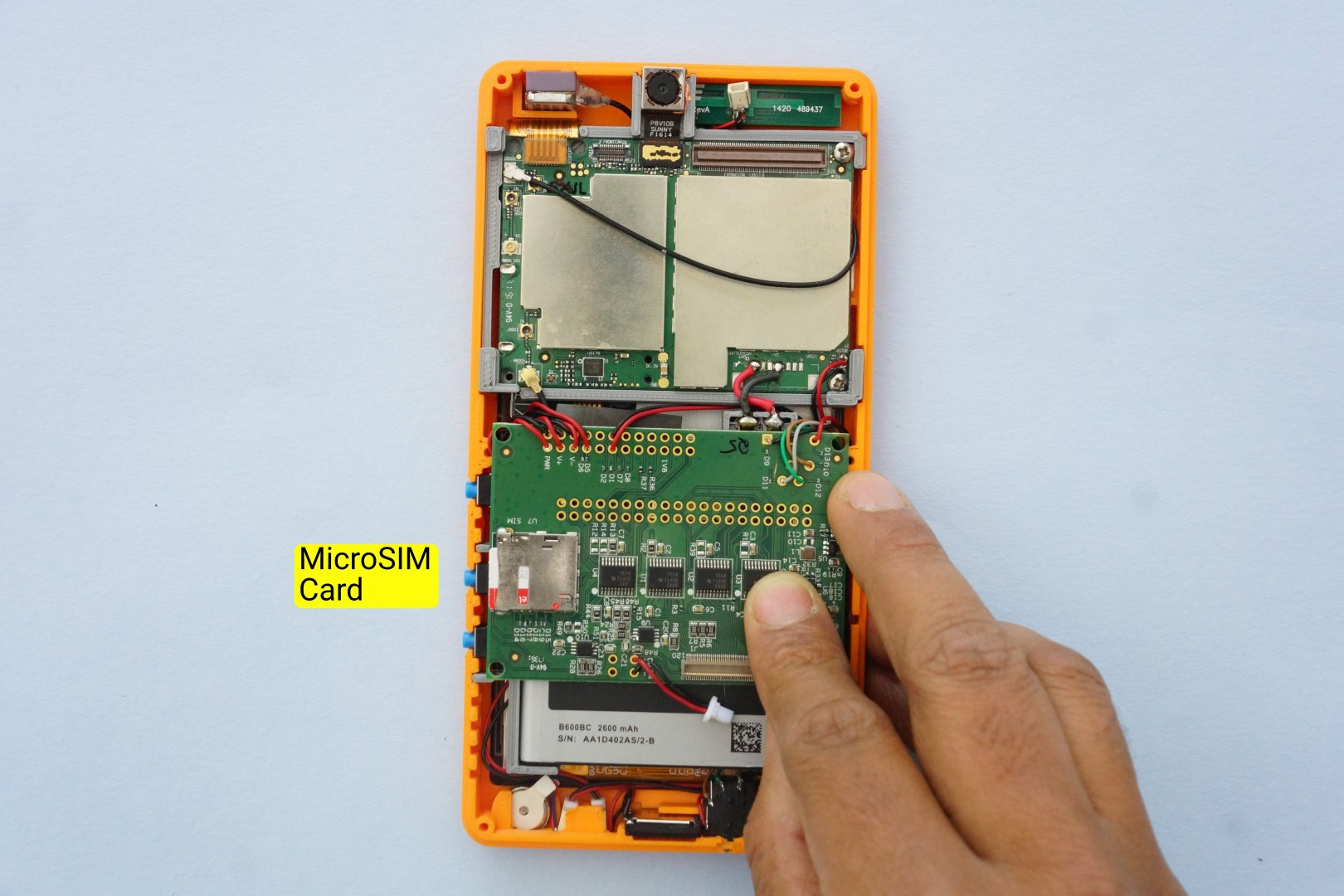 Building Poorna Your First Kitephone Details Maybe Thats Not A Bt Telephone Socket Wiring Next We Insert The Sim Card Into Microsim Connector On Bottom Side Of Expansion Board Its Push Type