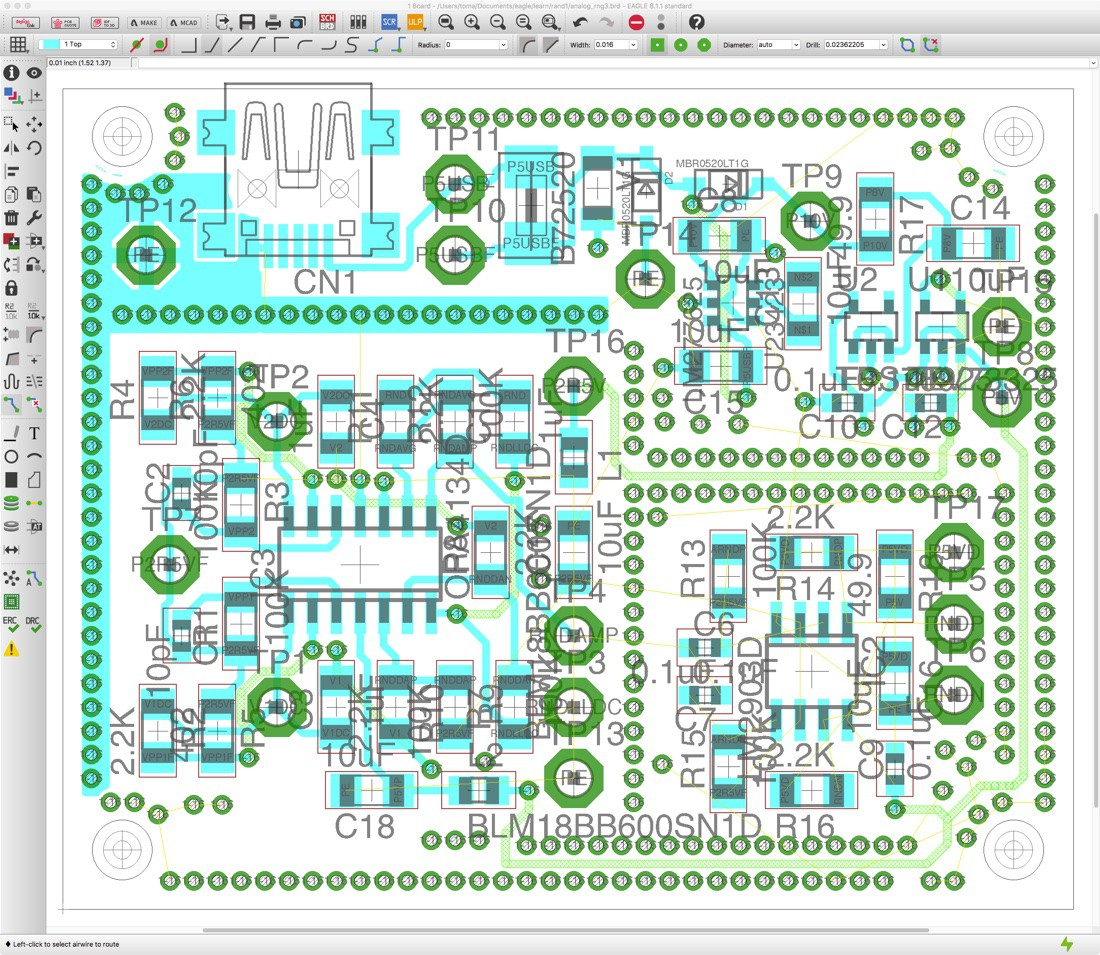 RNG Layout in progress: using EAGLE 8.1.1 | Details | Hackaday.io