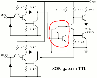 Bipolar XOR gate with only 2 transistors | Details | aday.io on