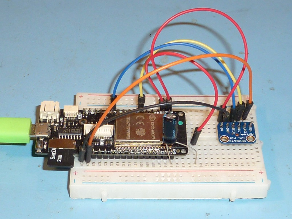 Project Street Sense The Breadboard Circuit Of Above Is Shown Below Prototype Micropython Test Code Was Written To Capture 10 Second Audio Clips And Stream Samples A Wav File On Sd