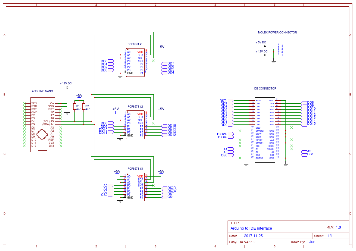 Using Old Cd Drive As A Music Player Parallel Port Pinout Diagram Arduino To Ide Interface Schematic