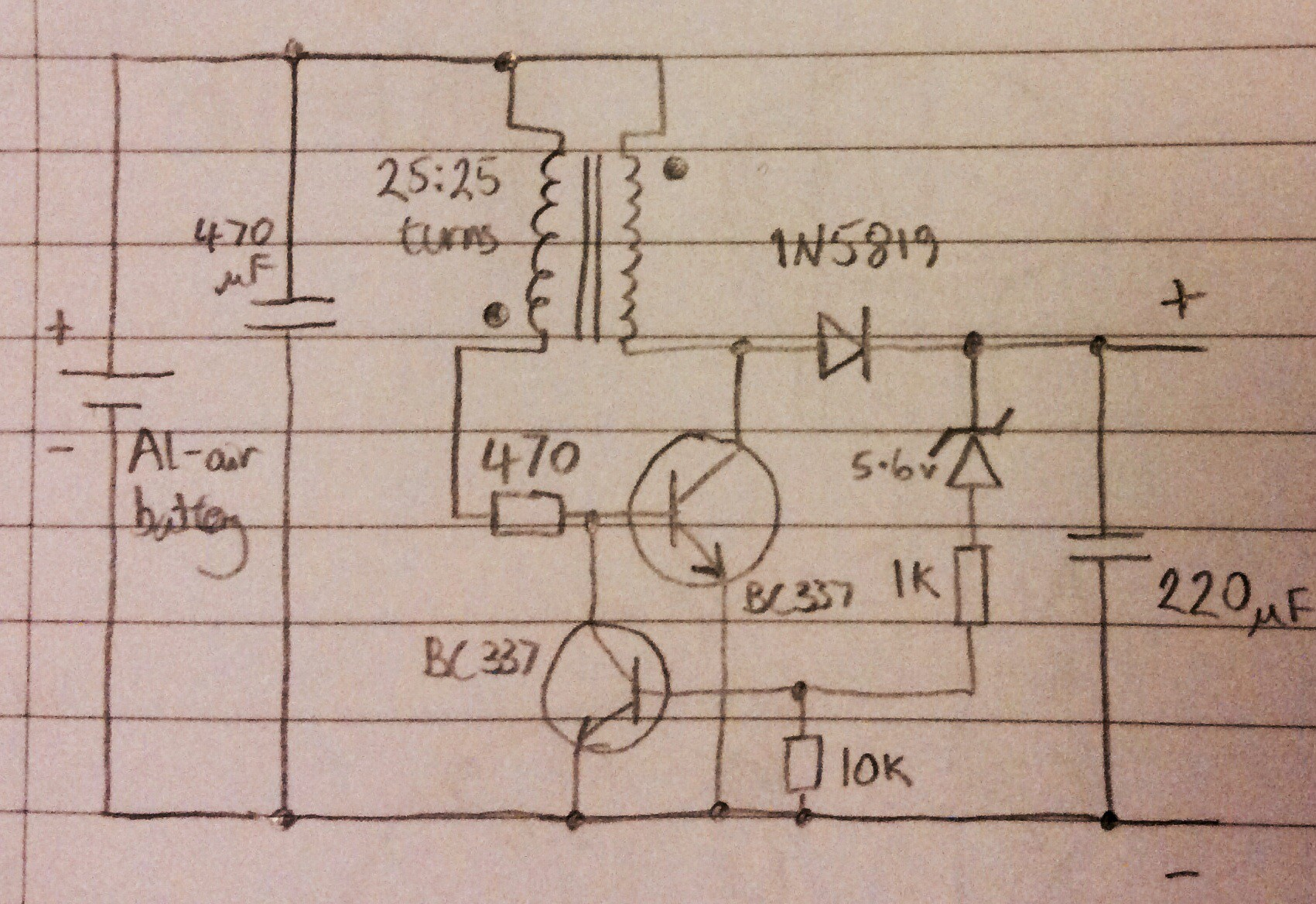 Joule Thief With Regulated Output Details Circuit Diagram Currents In The Darlington Pair This Is A More Efficient Than My First Attempt Shown An Earlier Log Entry Efficiency Of Ie Power From