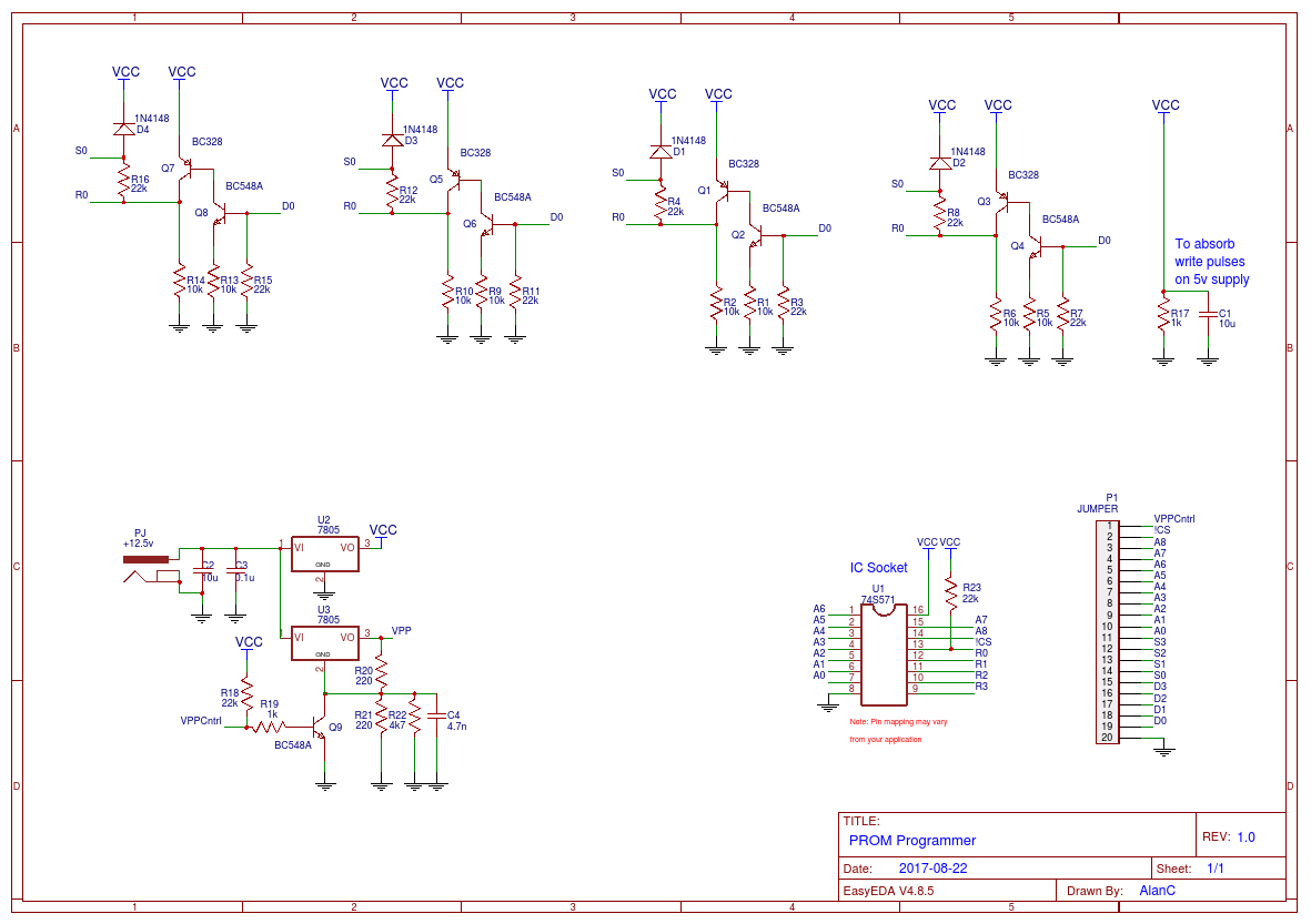 Project Promer Circuit Schematic Electronics Voltage Regulator With Lt1086 As You Can See The 74s571 Is A 4 Bit Data Word While Yanns Prom An 8
