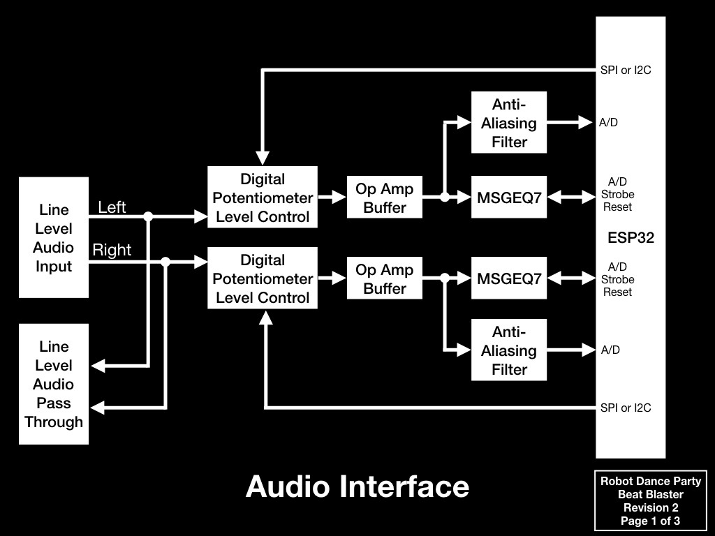 Project Robot Dance Party Audio Why Is My Msgeq7 Circuit Giving Arduino Analog Readings That The Interface Will Be Stereo And Well Have Two Complete Paths Into Esp32 One Of Issues We Had In Original Design Was Getting Sound