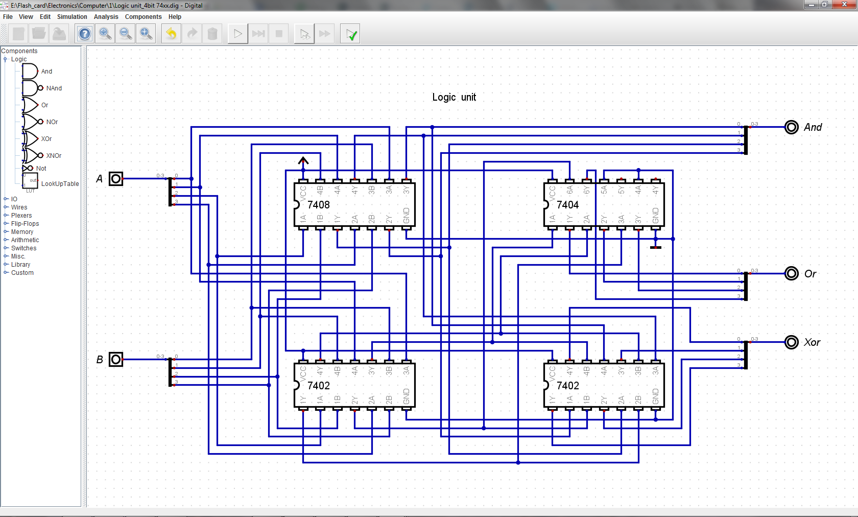 16 Bit Ttl Computer Gate Circuit Diagram Further Xor Schematic On With Essentially It Is Compount Made From Ands And Nors Inverters So Or Are Achieved In The Same