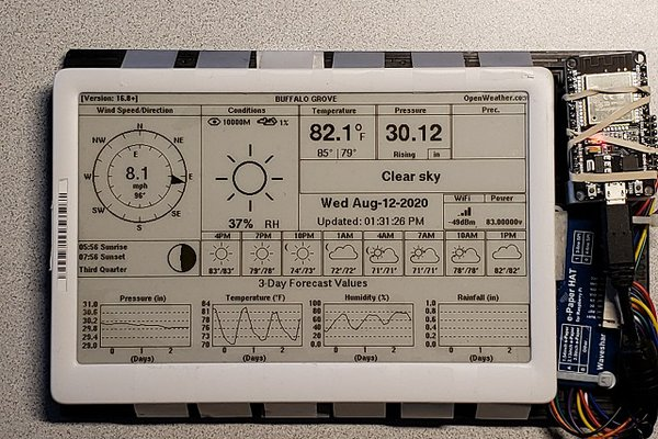 """7.4"""" E-Ink Shelf Label used as a Weather Station"""