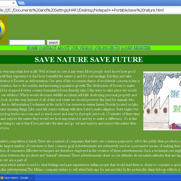 save nature save future Read this essay on save nature for future come browse our large digital warehouse of free sample essays get the knowledge you need in order to pass your classes and.