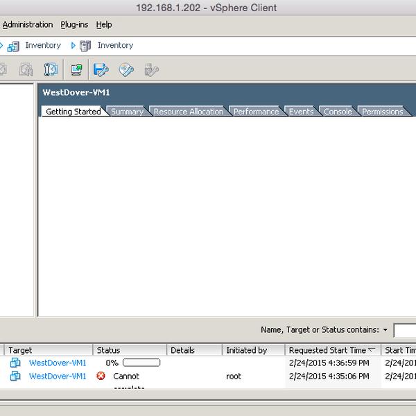 Screenshots of VMWare Fusion